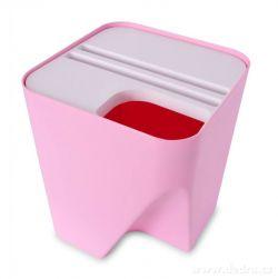 Designový koš TOTEMUS stohovatelný, růžový 13 L