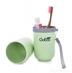 CESTOVNÍ POUZDRO 3v1 na zubní kartáčky a pastu zelené