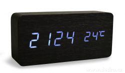 digitální LED dřevěné hodiny SYSTEMAT WOODOO CLOCK s budíkem černé