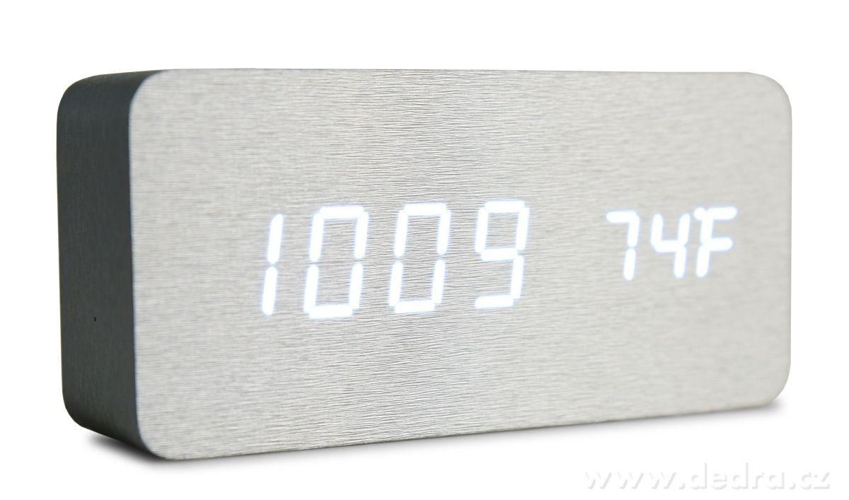 digitální LED dřevěné hodiny SYSTEMAT WOODOO CLOCK s budíkem stříbrné