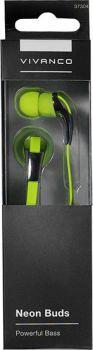 Stereo sluchátka do uší Vivanco Neon Buds - zelené