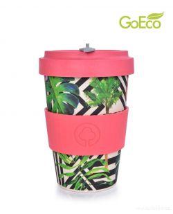 XL KELIMERO® GoEco® 500 ml hrnek a šroubovací víko s bambusovou vlákninou Tropical flamingo