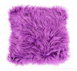 Dekorační potah na polštář s dlouhým vlasem fialový