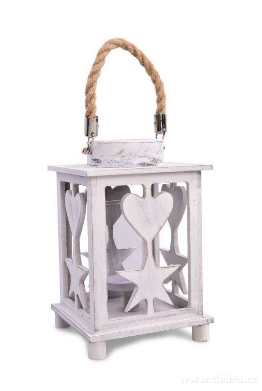 Dedra Dřevěná lucerna s vyřezávaným dekorem a lanovým držadlem