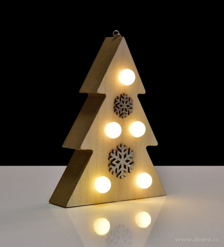 Dřevěný stromek závěsný/stojící s LED osvětlením