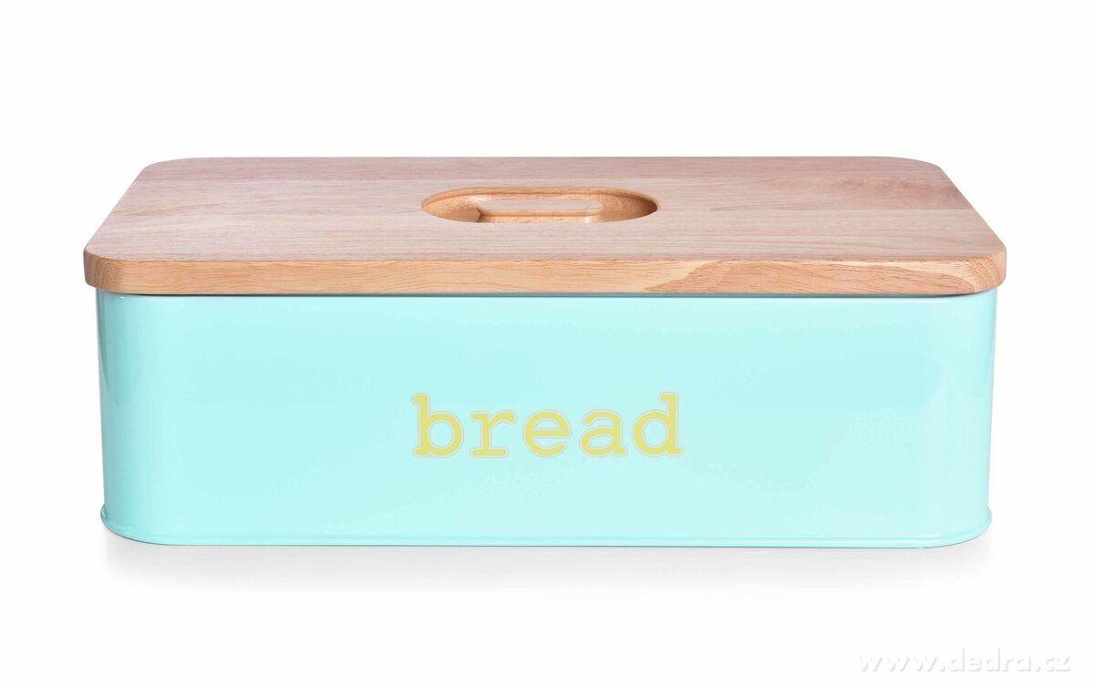 Dedra Kovový chlebník s krájecím víkem z masivního dřeva, mintový