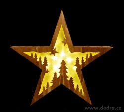 Svítící dřevěná hvězda s motivem lesa