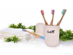 Dedra Zubní kartáček GoEco BAMBOO z bambusu s velmi měkkými štětinkami, pastelově růžový