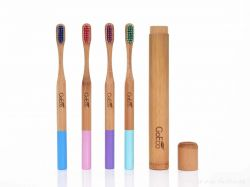 Dedra Zubní kartáček GoEco BAMBOO z bambusu s velmi měkkými štětinkami, modrý
