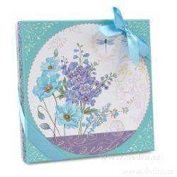 Dedra 2 patrový etažér blue flowers v dárkovém boxu
