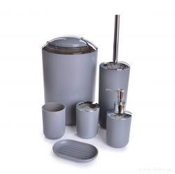DEDRA 6 dílný koupelnový set z odolného plastu šedý