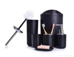 DEDRA 6 dílný koupelnový set z odolného plastu černý