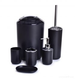 6 dílný koupelnový set z odolného plastu , ozdobné části v barvě stříbrného kovu s vysokým leskem