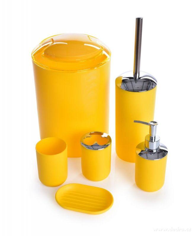 DEDRA 6 dílný koupelnový set v banánově žluté