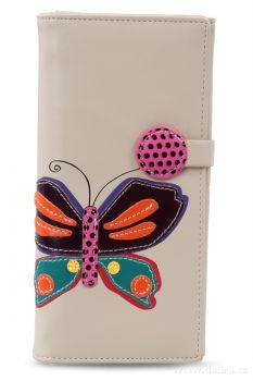 Dedra Dámská peněženka s aplikací motýla bílá