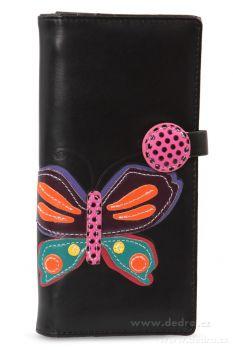 Dámská peněženka s aplikací motýla černá
