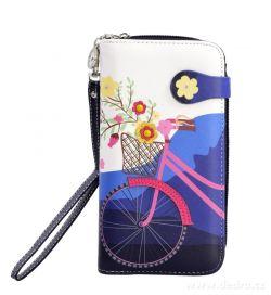 Dámská peněženka s aplikací kola, modrá