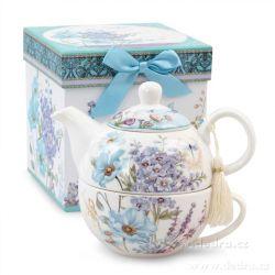 DEDRA Dárková sada čaj pro jednoho blue flowers, v krabičce
