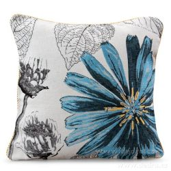 Gobelínový povlak na polštář 45x45 cm, oboustranný  s motivem květiny modrá