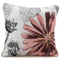 Gobelínový povlak na polštář 45x45 cm, oboustranný růžový s motivem květu