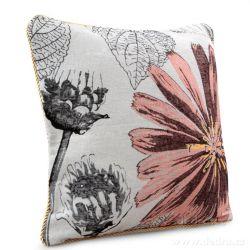 Gobelínový povlak na polštář 45x45 cm, růžový s motivem květiny