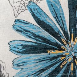 Gobelínový povlak na polštář 45x45 cm, s motivem květiny modrá