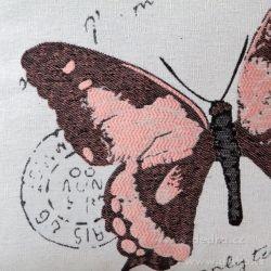 Gobelínový povlak na polštář 45x45 cm, s motivem motýla růžový