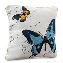 Gobelínový povlak na polštář 45x45 cm, oboustranný  s motivem motýla modrý