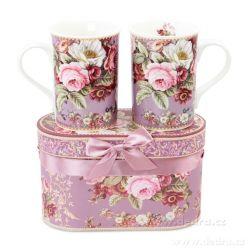 Dedra Sada dvou porcelánových hrnků romantic flawers, v dárkovém boxu