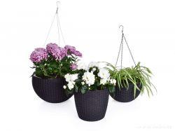 DEDRA Závěsný květináč s kovovým řetízkem, samozavlažovací