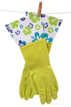 Dedra FLOWER dlouhé úklidové rukavice s vysokou manžetou