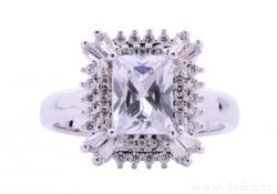 Prsten, s čirými zirkony, rhodiováno