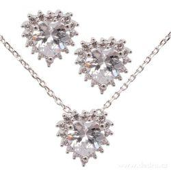 Set náhrdelník a náušnice, se zirkony, rhodiováno