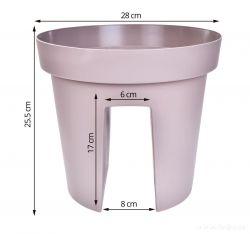 Dedra Velký květináč na zábradlí kávový 28 cm