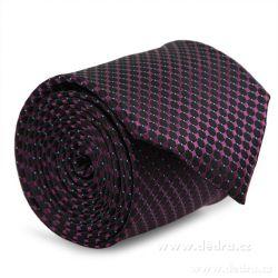 ELROY 5 dílná sada - kravata, kapesníček, purpur.-modré tečky