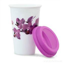KELIMERO dvoustěnný porcelánový termo hrnek 275ml, orchids
