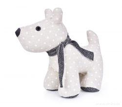Dveřní textilní zarážka ve tvaru psa s puntíky