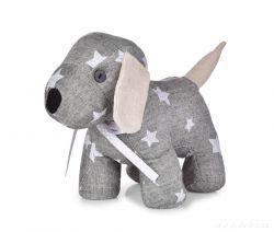 Dveřní textilní zarážka ve tvaru psa, šedý s hvězdičkami