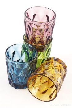 Sada vysokých barevných sklenic s reliérním povrchem 270ml 4ks