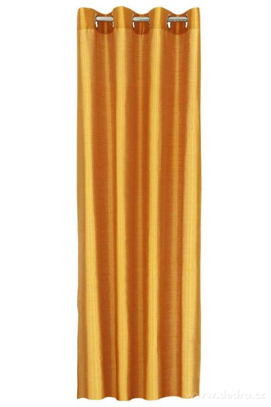 Závěs z pevné neprůhledné tkaniny, umělé hedvábí pomerančový