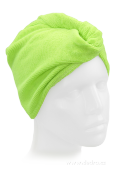 DEDRA - Ručník turban na mokré vlasy - světle zelený